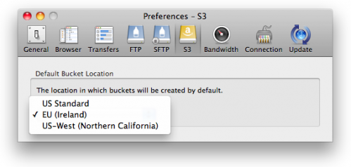 Amazon S3 Preferences for bucket location
