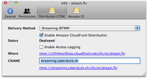 Amazon Cloudfront Streaming Distribution